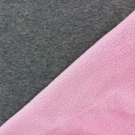 Sweat with minkee reverse side Fabric bicolore - grey/candy pink x 10cm