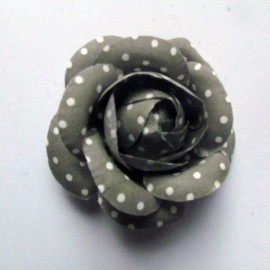Fabric Camellia brooch with white polka dots - grey