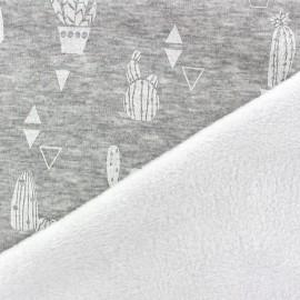 Tissu sweat envers minkee Cactus - écru/gris x 10cm