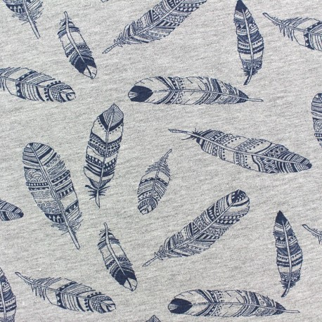 Tissu Jersey Plumes bleu/gris x 10cm