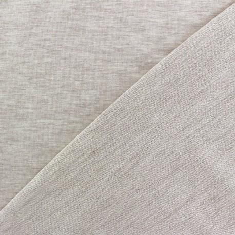 Light jogging Jersey Fabric - flecked light beige x 10cm