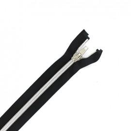 """Silver"" Separable zipper  - ebony black"