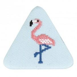 Badge tissu - flamant rose brodé