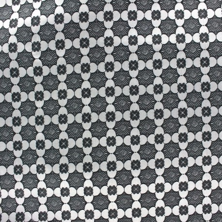 Stretch jacquard fabric Alhambra - black x 10cm