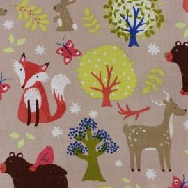 Tissu coton Lovely Forest - beige x 21cm