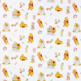 """Tissu coton Disney Winnie l'ourson """"Dada"""" - blanc x 31cm"""