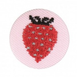 Fabric badge - embroidered strawberry