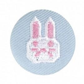 Badge tissu - lapin brodé