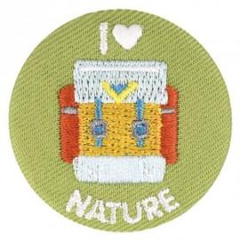 "Fabric badge - embroidered ""I love nature"""