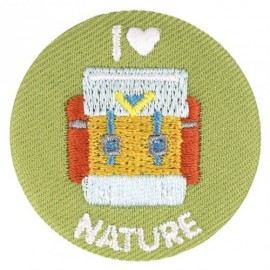 "Badge tissu - ""I love nature"" brodé"