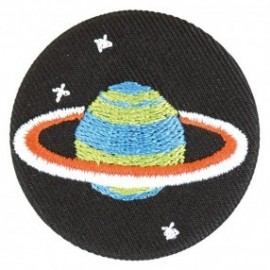 Badge tissu - Planète brodée
