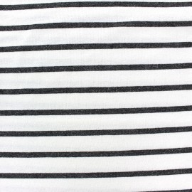 Tissu jogging de viscose léger rayé Allegra - gris/blanc x 10cm