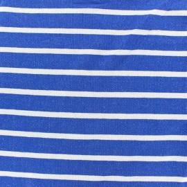 Tissu sweat léger de viscose rayé Allegra - blanc/bleu roy x 10cm