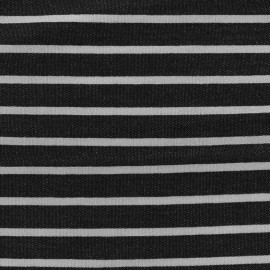 Tissu sweat léger de viscose rayé Allegra - blanc/noir x 10cm