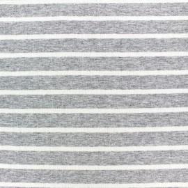 Tissu sweat léger de viscose rayé Allegra - blanc/gris clair x 10cm