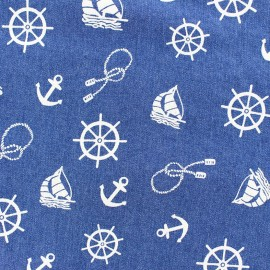 Jeans fabric Nautical - denim blue x 10cm