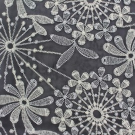 Embroidered lurex organza fabric  Sparkle - black x 10cm