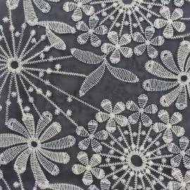 Tissu Organza brodé lurex Sparkle - noir x 10cm