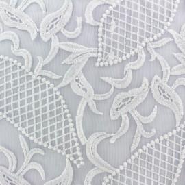 Tissu tulle dentelle brodé Jasmine -blanc x 10 cm