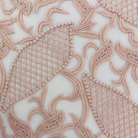 ♥ Coupon 270 cm X 130 cm ♥  Tissu tulle dentelle brodé Jasmine - rose clair