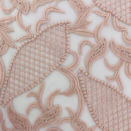 Tissu tulle dentelle brodé Jasmine - rose clair x 10 cm
