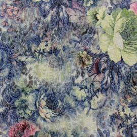 Tissu jacquard lurex Jardin Royal - bleu x 10cm