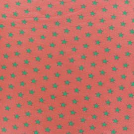 Tissu jersey Poppy Stars menthe à l'eau/corail x 10cm