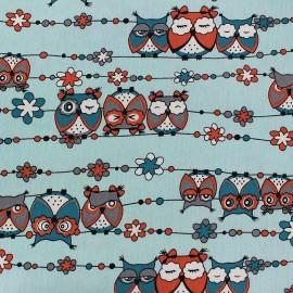 Tissu Jeans stretchPretty Owls - ciel x 10cm