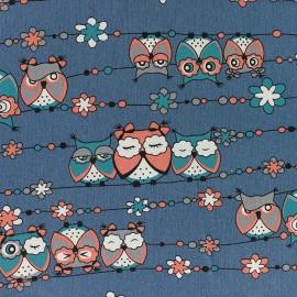 Tissu Jeans stretchPretty Owls - bleu marine x 10cm