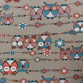 Tissu Jeans stretchPretty Owls - taupe x 10cm