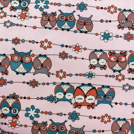 Tissu Jeans stretchPretty Owls - rose x 10cm