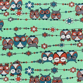 Tissu Jeans stretch Pretty Owls - vert d'eau x 10cm