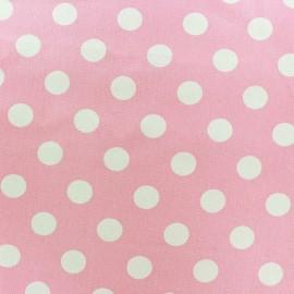 Tissu Gabardine coton pois blanc fond rose x 10cm