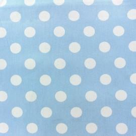 Tissu Gabardine coton pois blanc fond bleu ciel x 10cm