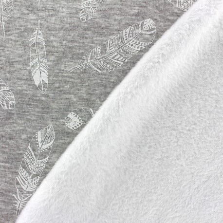 Tissu sweat envers minkee Plumes - blanc/gris x 10cm