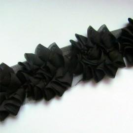 Galon fleur sur tulle chocolat 50 cm