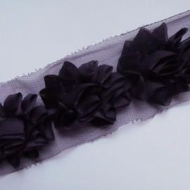 Galon fleur sur tulle lie de vin 50 cm