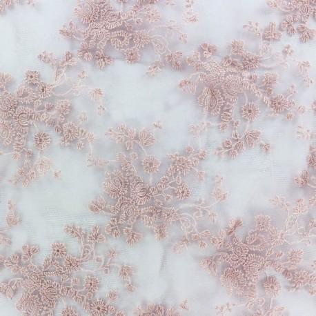 Tissu tulle dentelle brodée Flora - rose camay x 10 cm