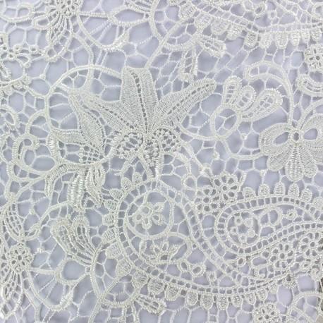 Tissu Dentelle guipure Paisley - écru x 10cm