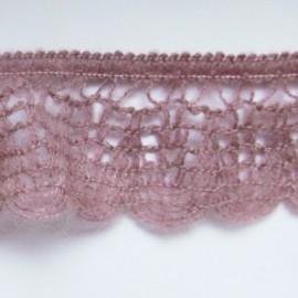Dentelle laine élastique vieux rose