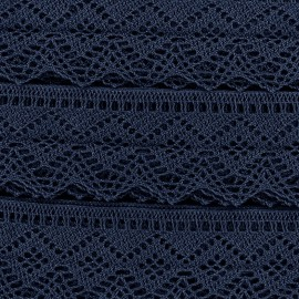 Ruban Dentelle au fuseau 43mm - bleu marine x 50cm