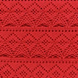 Ruban Dentelle au fuseau 43mm - rouge x 50cm