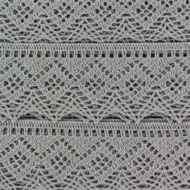 Ruban Dentelle au fuseau 43mm - gris clair x 50cm