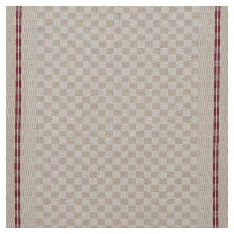 Tissu toile torchon Damier - rouge x 10cm