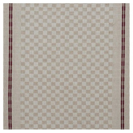 Tissu toile torchon Damier - prune x 10cm