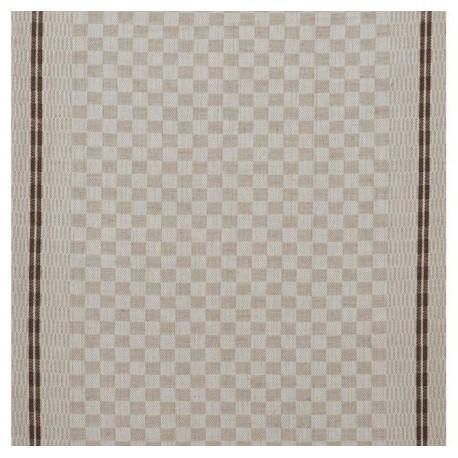 Tissu toile torchon Damier - chocolat x 10cm