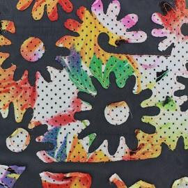 Tissu mousseline appliquée brodée Fleurs - noir x 50 cm