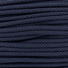 Cordon tressé 7 mm - bleu marine x 1m