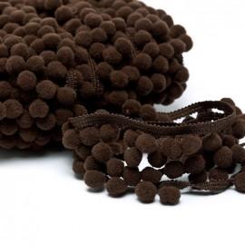 Medium pompom braid trimming - brown x 1m