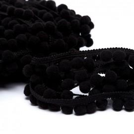 Medium pompom braid trimming - black x 1m